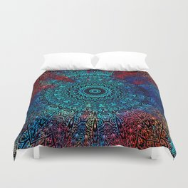 Bohemian Passion Blue & Red Mandala Design Duvet Cover