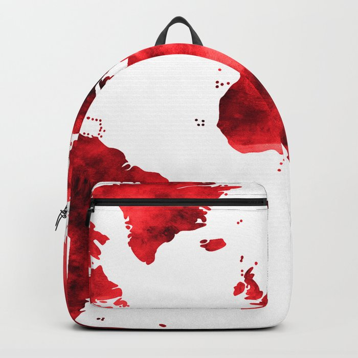 World Map Red Paint Backpack
