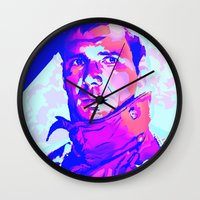 blade runner Wall Clocks featuring RICK DECKARD // BLADE RUNNER by mergedvisible