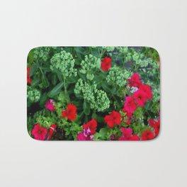 Red Petunia Flowers Green Sedum Flora Art Bath Mat