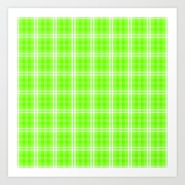 Bright Neon Green and White Tartan Plaid Check Art Print