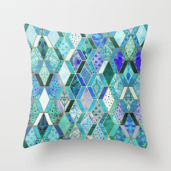 Sapphire & Emerald Diamond Patchwork Pattern Throw Pillow