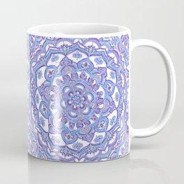 Lilac Spring Mandala - floral doodle pattern in purple & white Coffee Mug