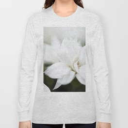 Snow White Flowers on a Dark Background #decor #society6 #buyart Long Sleeve T-shirt