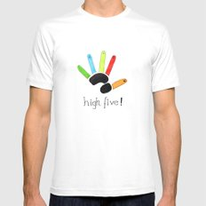 High Five! MEDIUM Mens Fitted Tee White