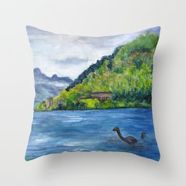 Loch Ness (with Nessie) Throw Pillow