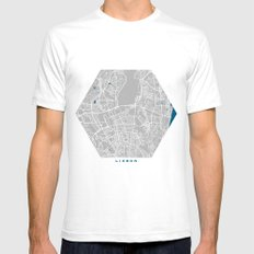 Lisbon city map grey colour SMALL White Mens Fitted Tee