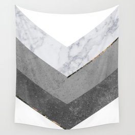 Marble Gray Copper Black Gold Chevron Wall Tapestry
