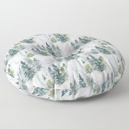 Watercolor forest green snow Christmas pine tree Floor Pillow