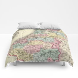 Vintage Map of Holland and Belgium (1856) Comforters