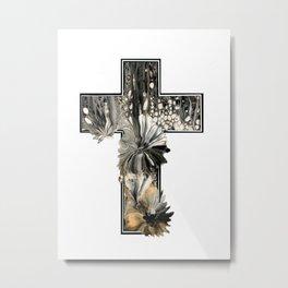 Fluid Art Cross Metal Print