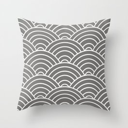 Gray Japanese Seigaiha Wave Throw Pillow
