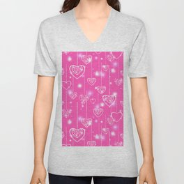 Openwork hearts on a bright pink background Unisex V-Neck