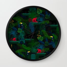 Animals in the jungle on the ruins Wall Clock