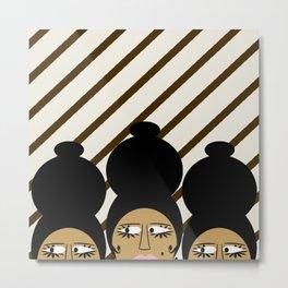 bbnyc brown women on stripes Metal Print
