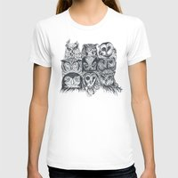 owls T-shirts featuring Nine Owls by Rachel Caldwell