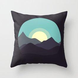 Minimal Mountain Night Throw Pillow