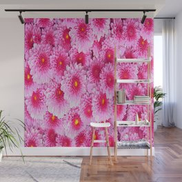 Decorative Pink Mums Colored Art Wall Mural