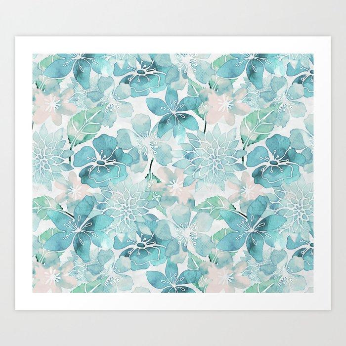 Blue green watercolor flower pattern Art Print