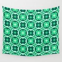 green pattern Wall Tapestries featuring Green Pattern by Daniela Neuenschwander Palacios