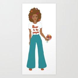 Digital illustration 70s style hippie girl retro girl power power to the people flower power Art Print