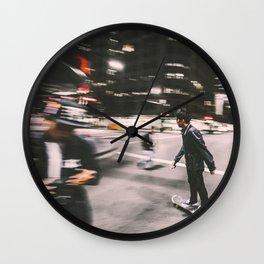 Skate in street 4 Wall Clock