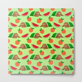 Cute funny sweet adorable sleeping dreaming baby sloths under a blanket, little peaches and red ripe summer tropical watermelons cartoon fantasy pastel green pattern design Metal Print