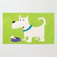 westie Area & Throw Rugs featuring Dog by Claire Lordon