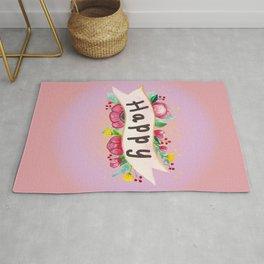 Watercolor Happy Flowers Banner Rug