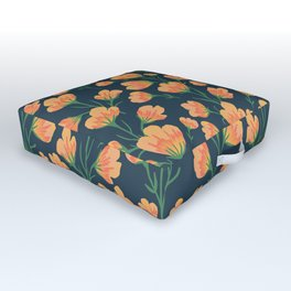 Blooming Orange Red Poppies Outdoor Floor Cushion