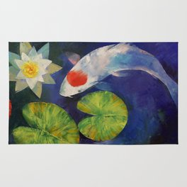 Tancho Koi and Water Lily Rug