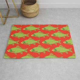 Green and Red Tropical Fish Shoal Pattern Rug