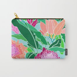 Bird of Paradise + Ginger Tropical Floral in Blue Carry-All Pouch