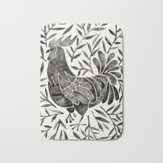 Le Coq – Watercolor Rooster with Black Leaves Bath Mat