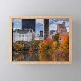 Autumn Sunrise at The Pond of Central Park in New York City Framed Mini Art Print