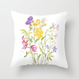 yellow pink white and  purple windflowers 2020 Throw Pillow