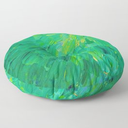 SEA SCALES in GREEN - Bright Green Ocean Waves Beach Mermaid Fins Scales Abstract Acrylic Painting Floor Pillow