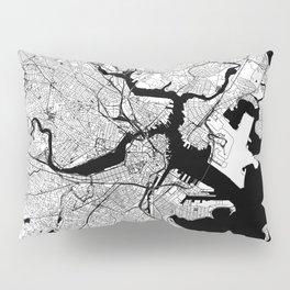 Boston Black and White Map Pillow Sham