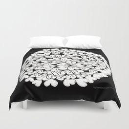 Hearts and Flowers Zentangle black and white illustration Duvet Cover