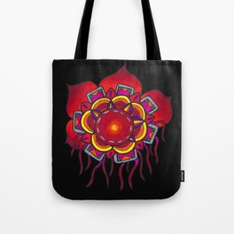 Red Flower Design Tote Bag