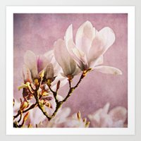 poem Art Prints featuring magnolia poem by Iris Lehnhardt