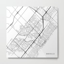Oakville Map, Canada - Black and White Metal Print