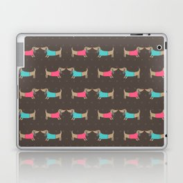 Cute dog lovers in brown background Laptop & iPad Skin