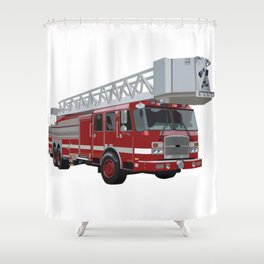 Fire Engine Truck with Ladder Shower Curtain