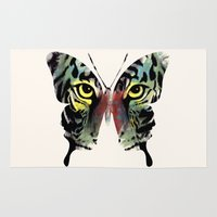 butterfly Area & Throw Rugs featuring butterfly  by mark ashkenazi