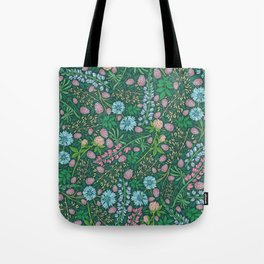 Violet clover and lupine among cornflowers and herbs Tote Bag