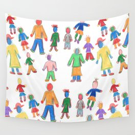 Multicolor People Multiples Wall Tapestry