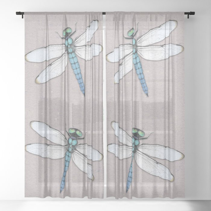 Blue dragonfly Sheer Curtain