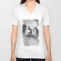 rushmore V-neck T-shirts featuring Rushmore at Night by Peaky40