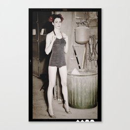 Pin Up Girl in Dirty Garage Canvas Print
